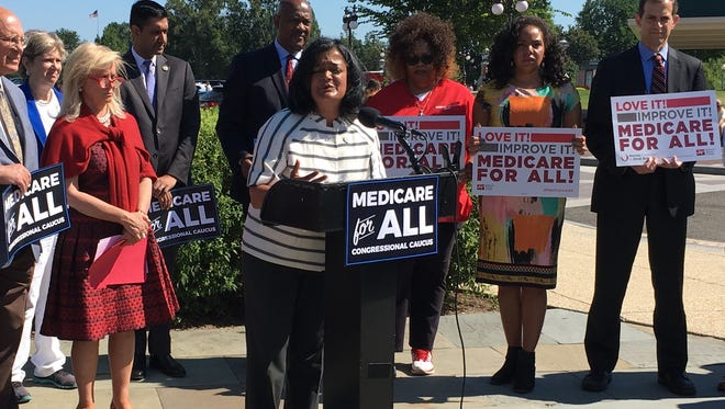 """Rep. Pramila Jayapal. D-Wash., launches""""Medicare for All"""" Caucus outside the U.S. Capitol Thursday in Washington D.C."""