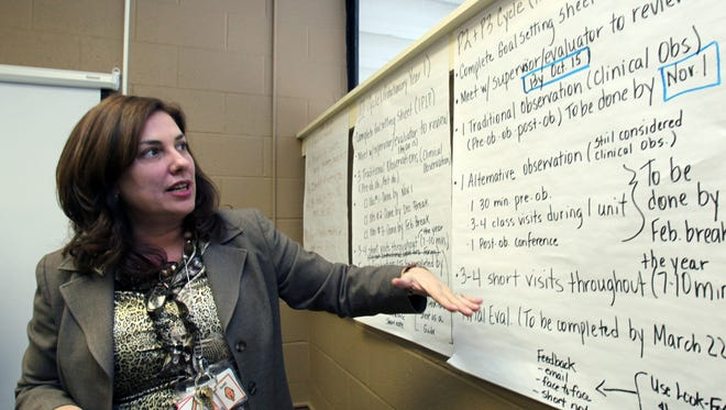 Fox Lane Middle School Principal AnneMarie Berardi points to notes on Jan. 23, 2012, that she created to help organize teacher evaluations at the school.