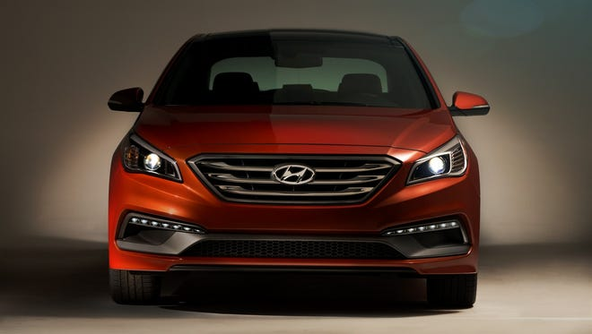The grille of the 2015 Hyundai Sonata 2.0T is designed to resemble its counterpart on the upscale Genesis sedan.
