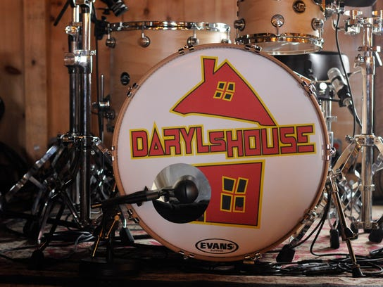 A drum set on the stage of Daryl's House, the restaurant
