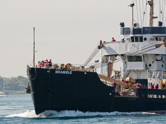 Retired U.S. Coast Guard Cutter Bramble travels up