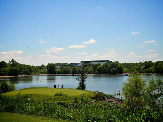 A look from the tee to the green of the par-3 17th