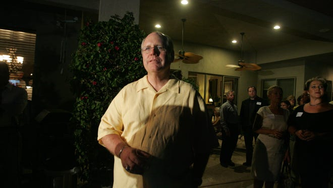 Pictured on June 8, 2010, Riverside County Supervisor John Benoit watched election results at his home in Bermuda Dunes.