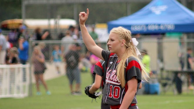 Teurlings Catholic pitcher Lorin Martin (No. 10) signals one out in the Rebels' 7-2  loss in the quarterfinals to West Ouachita. Martin was named to the Class 4A All-State Softball First Team.
