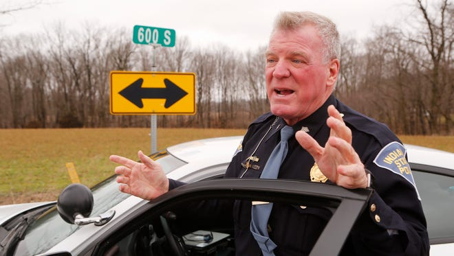 Indiana State Police Sgt. Kim Riley discusses on Friday, February 23, 2018, the plane crash that occurred in Carroll County Thursday evening near Rossville. The plane crashed in a field near Carroll County Roads 500 West and 600 South. Riley said it appeared the plane was traveling from the northwest towards the southeast when it crashed. Riley would not address the number of fatalities involved.