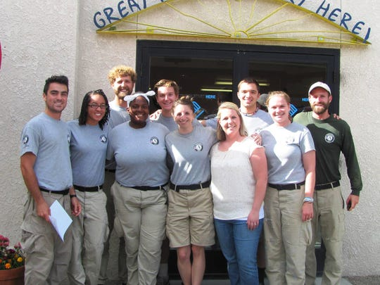 The nine-member AmeriCorps NCCC team that spent the past five weeks serving at the Boys & Girls Clubs of Mason Valley is pictured with Christina Hurt (white shirt), the grants director for the BGCMV. The team of 18-24 year-olds, with one team leader, Ryan Drysdale (right), came from Florida, Pennsylvania, Ohio, Michigan, Wisconsin, Iowa and New York to spend 10 months on the west coast serving in five areas, ending up in Yerington.
