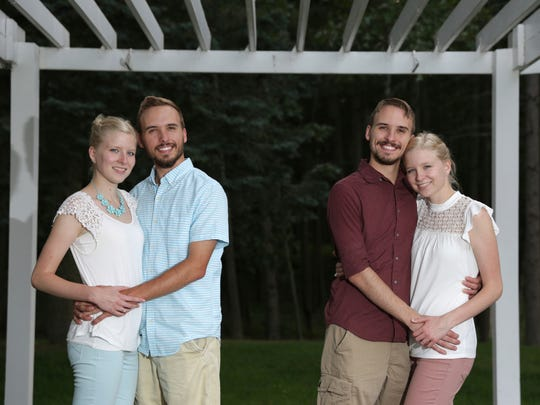 From left, Krissie Bevier and fiancé Zack Lewan and Nicholas Lewan and fiancée Kassie Bevier pose on July 29, 2018, in Grass Lake. Identical twins Krissie and Kassie Bevier married identical twins, Zack and Nicholas Lewan.