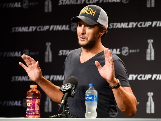 Luke Bryan speaks to the media before game 6 of the