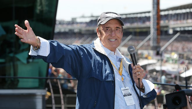 During his last appearance at the Speedway, Jim Nabors smiles to the applause of fans before the 98th Indianapolis 500 race at the Indianapolis Motor Speedway, May 25, 2014.