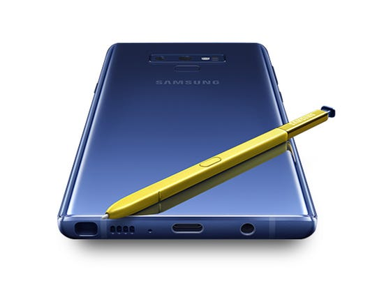 The S Pen is yellow in one version of the Galaxy Note9.