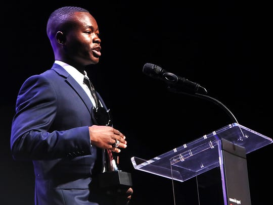 East kicker Ntirenganyi Karamba was the winner of the Courage Award at Tuesday's Commercial Appeal Sports Awards at the Orpheum.