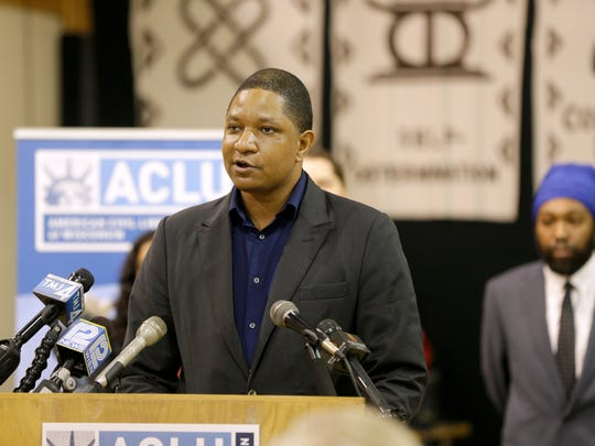 Jarrett English, a police accountability advocate with the American Civil Liberties Union of Wisconsin, speaks during a news conference.