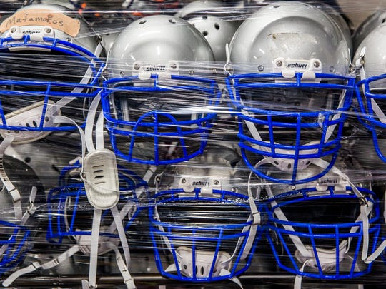 Football helmets at the newly constructed Bonita Springs High School on Friday, July 20, 2018. Classes started on Aug. 10.
