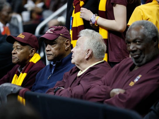 Loyola-Chicago team members from 1963, Jerry Harkness, Les Hunter, John Egan, Rich Rochelle. Hunter was a key member of the '64 team that faced Michigan in the NCAA tournament.