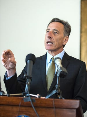 Gov. Peter Shumlin speaks a a news conference at the Statehouse in Montpelier on Thursday, March 26, 2015.