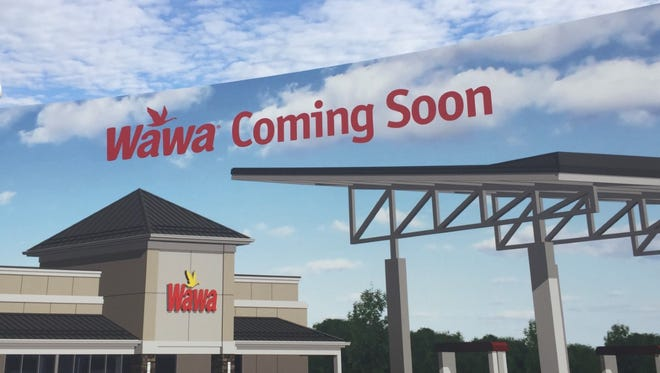A sign announces plans for a Wawa on Haddonfield Road in Cherry Hill.
