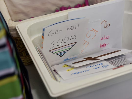 Hand-written cards were included in each bag Monday,