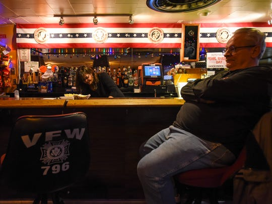 James Hindes sits at the bar in the VFW Post 796 in