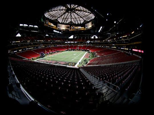 A view of the field before the national championship football game between Alabama and Georgia in January at Atlanta's Mercedes-Benz Stadium.