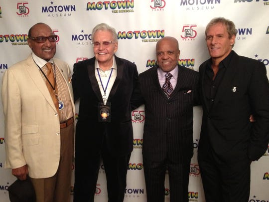 "Left to right, Duke Fakir (Four Tops), Art Van Elslander, Berry Gordy Jr. and Michael Bolton. A Motown homecoming reception was held at the Roostertail in Detroit on Oct. 21, 2014 in advance of ""Motown: The Musical"" at the Fisher Theatre."