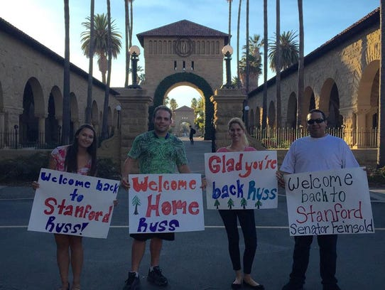 "Russ Feingold's ""welcoming committee"" at Stanford University."