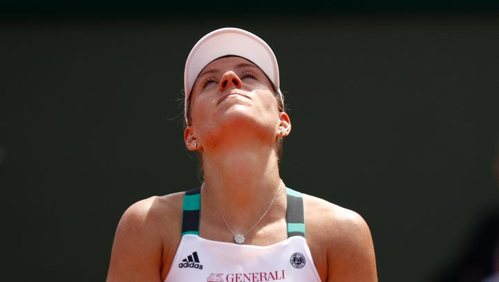 Angelique Kerber reacts during the ladies singles first-round