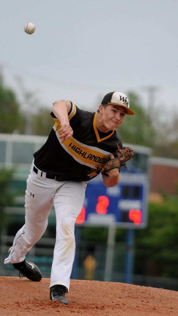 Cal Egan of West Milford throws a pitch during the