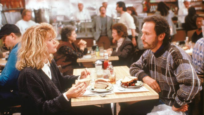 """Meg Ryan and Billy Crystal in the classic deli scene from the 1989 motion picture """"When Harry Met Sally."""""""