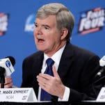 NCAA President Mark Emmert answers questions during a news conference at the Men's Final Four.