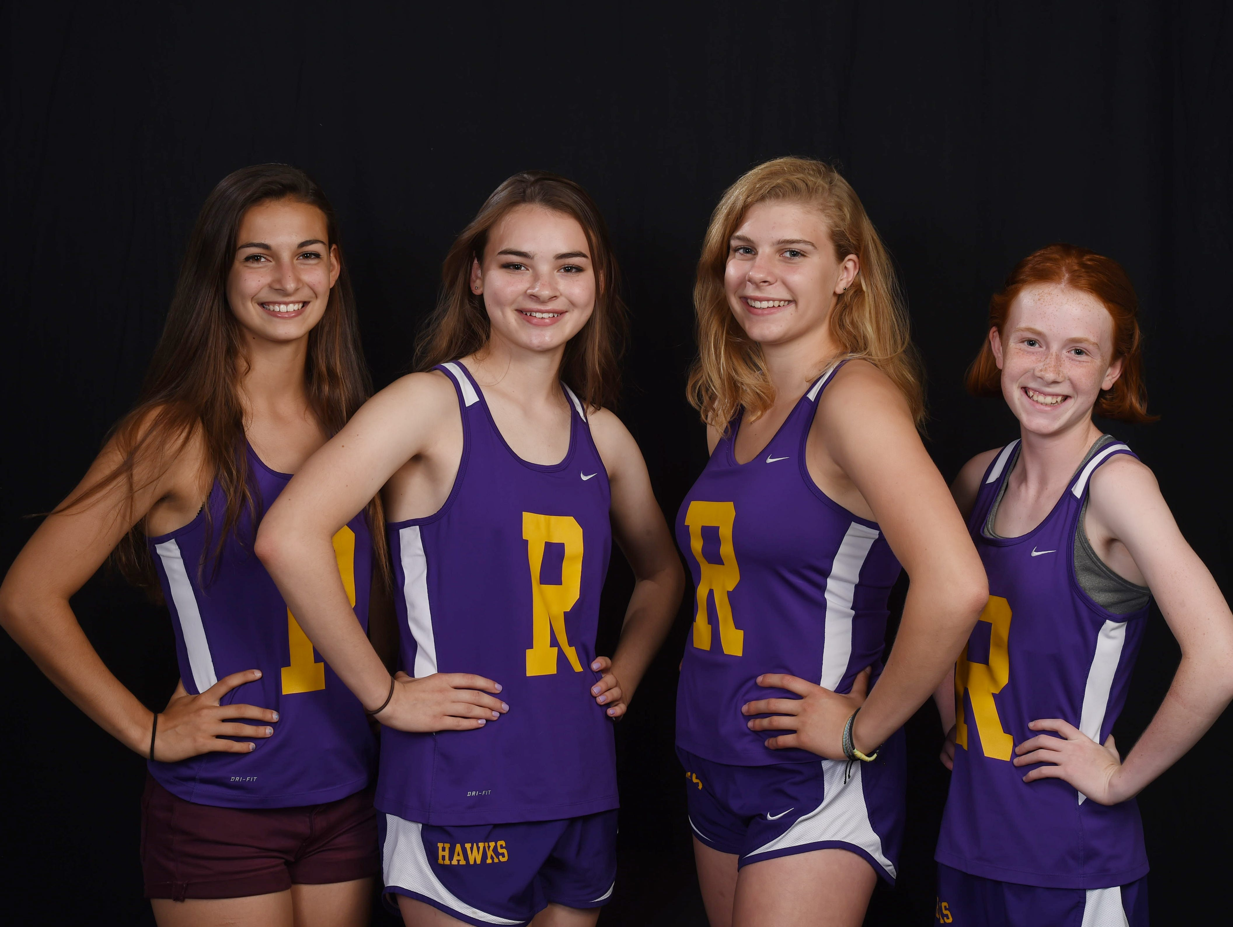From left, Stephanie Cassens, Daisy Gadsby, Maggie Bennett and Elise Voorhis, Rhinebeck track & field, 4x400 relay