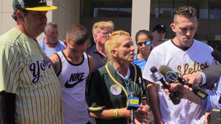 Donna Nolan addresses the media outside of the Westchester