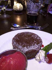 Walking Tree's dessert course was a  dense chocolate-laden cake and bright-tasting orange sorbet. It was paired with the Walking Tree's robust Breconshire Imperial Porter, with chocolate notes, named for the steamship that sank right off the shore of Vero Beach.