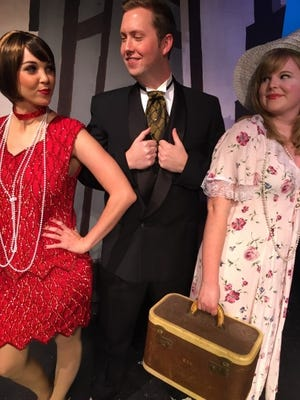 """Cast members of """"Thoroughly Modern Millie,"""" (from left) Millie Dillmount (Kelly Clemenzi), Jimmy Smith (Ben Earman) and Miss Dorothy Brown (Kristen Whalen)."""