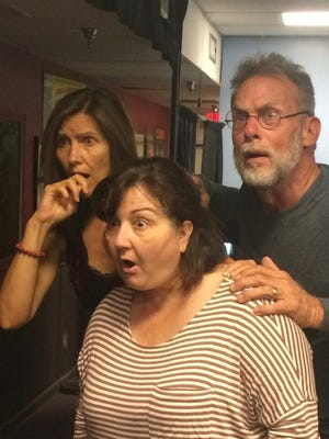 """Katherine Kanitsch (left to right), Clelia Patrizio and Todd Caster star in """"Vanya and Masha and Sonia and Spike"""" at the ACT Studio Theatre."""