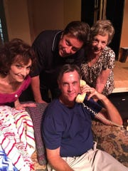 "Jeanette Mazzella, TJ Martinelli, Greta Goldstein and Steve Cohen star in ""Whose Wives Are They Anyway?"" at the Barn Theatre."