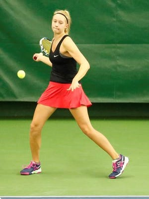 Neenah's Anna Beyer competes against DeForest's Cecile Fuchs on Thursday at the WIAA state tennis tournament in Madison.