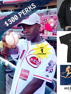 Don Cheadle, who threw the first pitch at Great American Ball Park on June 6, also is offering the baseball, signed by himself and Reds catcher Devin Mesoraco, for $300.