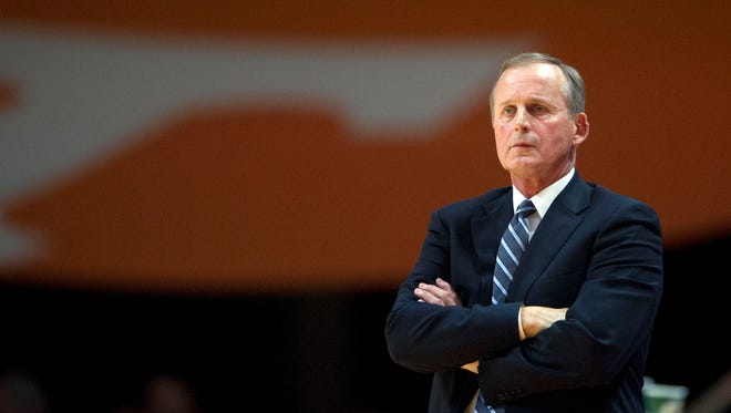 Tennessee head coach Rick Barnes during the game against Presbyterian at Thompson-Boling Arena on Tuesday, December 6, 2016.