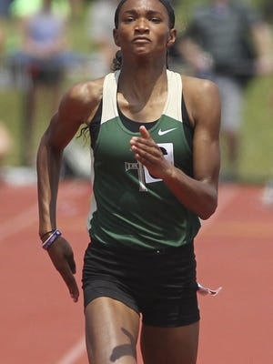 St. Vincent St. Mary's Kya Epps runs to a fourth-place finish in the 100 meter dash with a time of 12.33 during the state meet in June of 2019.