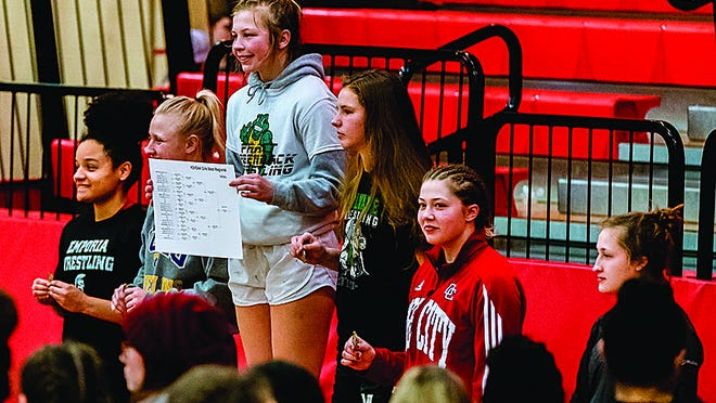 Pratt's 143-lb.-wrestler Livia Swift stands atop the podium for her weight division in the inagural West Regional GIrls Wrestling Tournament last weekend. She won first place in the region and will compete at State the last weekend in February.