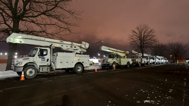 As part of JCP&L's storm preparation efforts, about 100 line workers were pre-staged in Pennsylvania Monday night waiting to be dispatched if power outages occurred. These crews, which came to New Jersey Tuesday, remained on standby though they were mostly not needed. The workers are part of JCP&L's overall storm response effort, which included mobilizing 600 line, substation and forestry workers as well as support staff from other FirstEnergy operating companies.