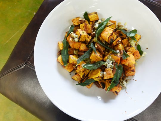 Melissa Stewart's roasted sweet potatoes with blue