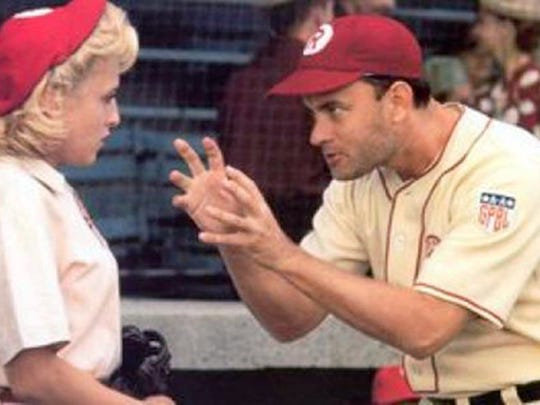 """This image released by Columbia TriStar Home Video shows a scene from the movie """"A League of Their Own"""" as manager Jimmy Dugan (Tom Hanks) admonishes Evelyn Gardner (Bitty Schram) with the memorable line """"there's no crying in baseball."""" Memorable movies, including """"Breakfast at Tiffany?s,"""" """"Dirty Harry,"""" """"A League of Their Own"""" and """"The Matrix"""" are being preserved for their enduring significance in American culture as The Library of Congress announces, Wednesday, Dec. 19, 2012, the slate of films it will induct into the National Film Registry. (AP Photo/Columbia TriStar Home Video)"""