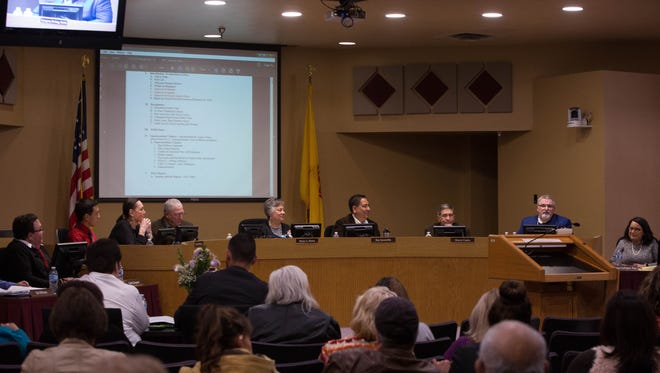 The Las Cruces Board of Education, seen in a 2018 file photo, holds regular open meetings in the Las Cruces Public Schools administration building, 505 S. Main Street.