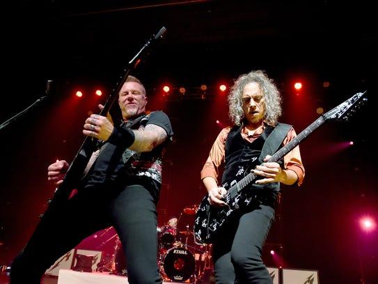 James Hetfield (left) and Kirk Hammett of Metallica