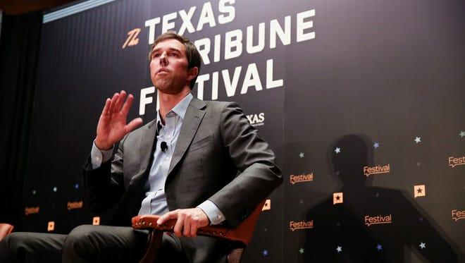 U.S. Rep. Beto O'Rourke, D-El Paso, discusses his Senate bid against incumbent Ted Cruz with Tribune CEO Evan Smith at The Texas Tribune Festival on Sept. 23, 2017.