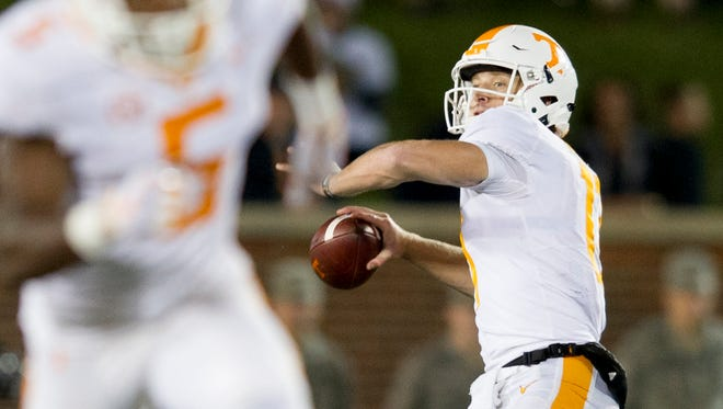 Tennessee quarterback Will McBride (17) lines up a pass during a game between Tennessee and Missouri at Faurot Field in Columbia, Missouri, on Saturday November 11, 2017.