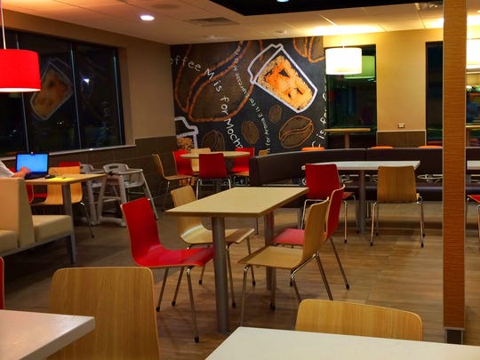 McDonald's new look features a more modern design in the dining room.
