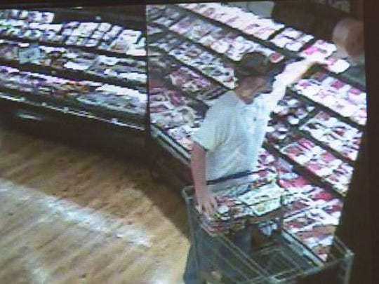 Security footage of the man authorities believe stole meat from a Food Lion store