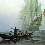 """Hermann Trappmann's """"Calusa - First Encounters - illustrates Spanish explorers' first meeting with Calusa Chief Carlos on Mound Key."""